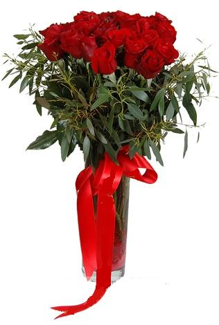 15 adet kirmizi gül cam vazo içerisinde  Amasya internetten çiçek satışı