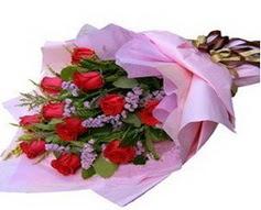 11 adet kirmizi güllerden görsel buket  Amasya çiçek gönderme sitemiz güvenlidir