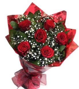 6 adet kırmızı gülden buket  Amasya yurtiçi ve yurtdışı çiçek siparişi