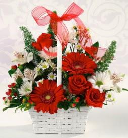 Karışık rengarenk mevsim çiçek sepeti  Amasya internetten çiçek siparişi