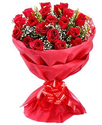 21 adet kırmızı gülden modern buket  Amasya çiçek gönderme