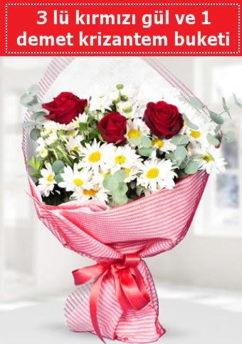 3 adet kırmızı gül ve krizantem buketi  Amasya çiçek gönderme sitemiz güvenlidir