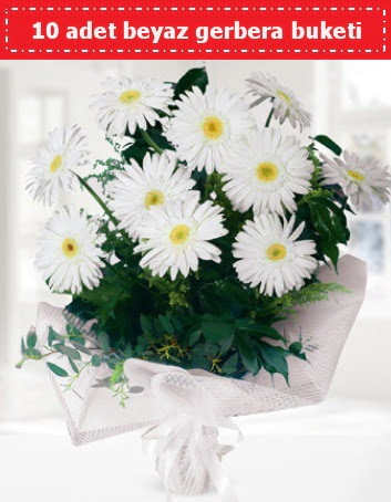 10 Adet beyaz gerbera buketi  Amasya çiçek , çiçekçi , çiçekçilik
