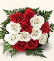 Amasya çiçek , çiçekçi , çiçekçilik  10 adet kirmizi beyaz güller - anneler günü için ideal seçimdir -