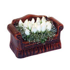 seramik içerisinde 11 gül  Amasya hediye çiçek yolla