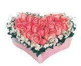 kalp içerisinde 9 adet pembe gül  Amasya çiçek satışı
