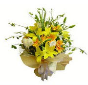 sari lilyum ve gerberalar  Amasya çiçek yolla