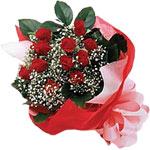 Amasya internetten çiçek satışı  KIRMIZI AMBALAJ BUKETINDE 12 ADET GÜL