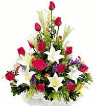 Amasya internetten çiçek satışı  GÜLLER VE KAZABLANKA ARANJMANI