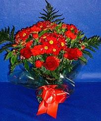 Amasya hediye çiçek yolla  3 adet kirmizi gül ve kir çiçekleri buketi