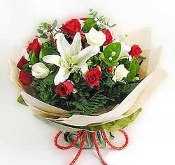 güller ve kazablanklardan görsel bir buket  Amasya internetten çiçek satışı