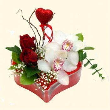 Amasya hediye sevgilime hediye çiçek  1 kandil orkide 5 adet kirmizi gül mika kalp