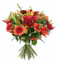 Amasya çiçek gönderme  3 adet kirmizi gül ve karisik kir çiçekleri demeti