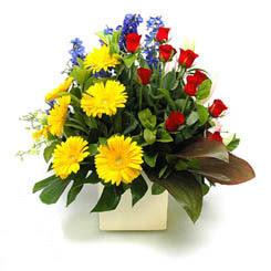 Amasya online çiçek gönderme sipariş  9 adet gül ve kir çiçekleri cam yada mika vazoda