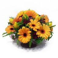 gerbera ve kir çiçek masa aranjmani  Amasya çiçek siparişi vermek