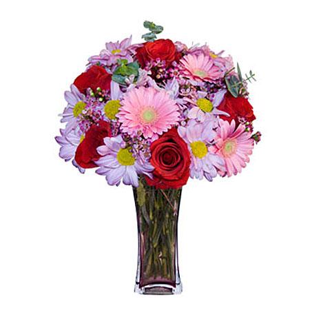 Görsel hediye karisik cam mevsim demeti  Amasya çiçekçi mağazası