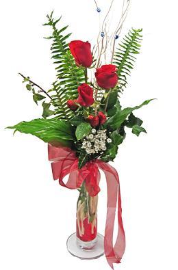 Çiçek gönderin cam vazoda 3 gül çiçekleri  Amasya çiçek siparişi sitesi
