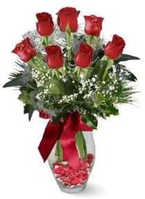 7 adet vazoda gül  Amasya internetten çiçek satışı  kirmizi gül