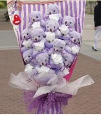 11 adet pelus ayicik buketi  Amasya çiçek gönderme sitemiz güvenlidir
