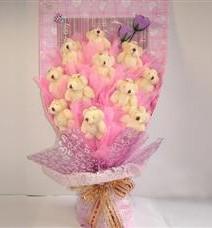 11 adet pelus ayicik buketi  Amasya çiçek yolla