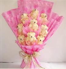 9 adet pelus ayicik buketi  Amasya anneler günü çiçek yolla