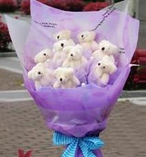 11 adet pelus ayicik buketi  Amasya ucuz çiçek gönder
