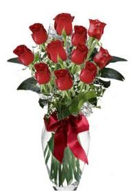 11 adet kirmizi gül vazo mika vazo içinde  Amasya 14 şubat sevgililer günü çiçek