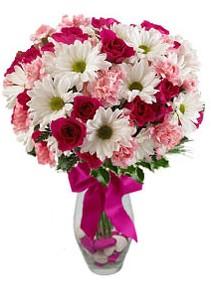 Amasya çiçek siparişi sitesi  Karisik mevsim kir çiçegi vazosu