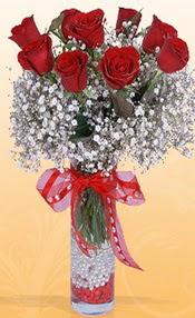 9 adet kirmizi gül cam yada mika vazoda  Amasya çiçek mağazası , çiçekçi adresleri