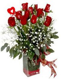 Amasya çiçek siparişi vermek  9 adet mika yada cam vazoda gül tanzimi kalp çubuk