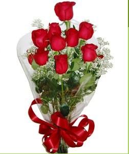 Amasya uluslararası çiçek gönderme  10 adet kırmızı gülden görsel buket