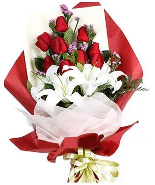 Amasya çiçekçiler  1 dal kazablankaa 9 adet kırmızı gül buketi