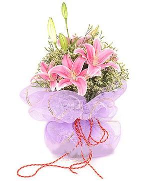 3 dal kazablanka görsel buketi  Amasya internetten çiçek satışı