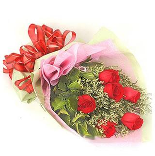 Amasya çiçek , çiçekçi , çiçekçilik  6 adet kırmızı gülden buket