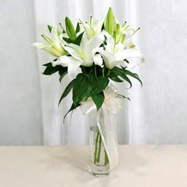 Amasya anneler günü çiçek yolla  2 dal kazablanka ile yapılmış vazo çiçeği