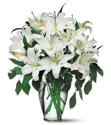 Amasya internetten çiçek satışı  4 dal kazablanka ile görsel vazo tanzimi