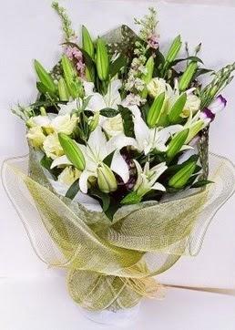 Amasya çiçek servisi , çiçekçi adresleri  3 adet kazablankalardan görsel buket çiçeği