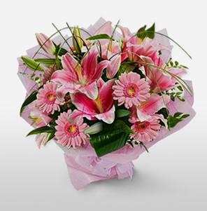 1 dal kazablanka ve kır çiçek görsel buketi  Amasya internetten çiçek satışı