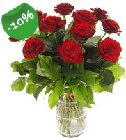 11 adet vazo içerisinde kırmızı gül  Amasya online çiçek gönderme sipariş