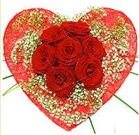 Mika kalp içerisinde 7 adet kırmızı gül  Amasya çiçekçi mağazası