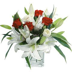 vazo içerisinde 4 gül 1 adet kazablanka  Amasya online çiçek gönderme sipariş