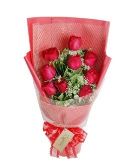 9 adet kırmızı gülden görsel buket  Amasya ucuz çiçek gönder