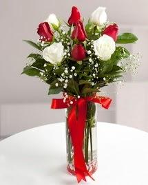 5 kırmızı 4 beyaz gül vazoda  Amasya cicekciler , cicek siparisi