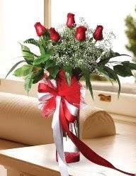 Camda 5 kırmızı gül tanzimi  Amasya çiçekçi telefonları