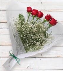 5 kırmızı gülden sade buket  Amasya çiçek yolla