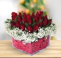 15 kırmızı gülden kalp mika çiçeği  Amasya çiçek satışı