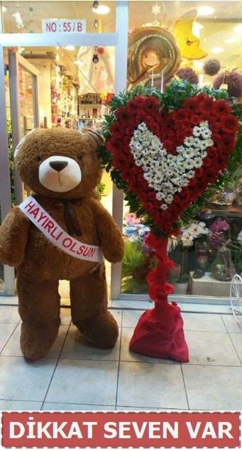 1.5 Metre peluş ayı ve Kalp  Amasya çiçek gönderme sitemiz güvenlidir