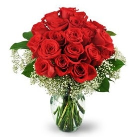 25 adet kırmızı gül cam vazoda  Amasya çiçek , çiçekçi , çiçekçilik