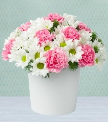 Seramik vazoda papatya ve kır çiçekleri  Amasya çiçek siparişi sitesi