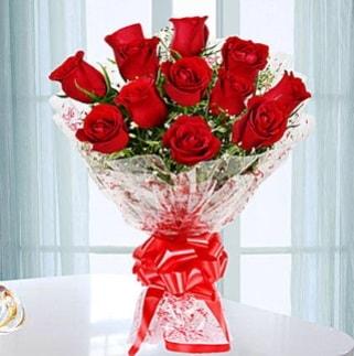 11 adet kırmızı gülden görsel şık buket  Amasya ucuz çiçek gönder